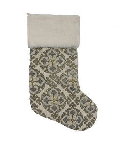 "Damask Beaded Velvet Christmas Stocking, 8"" X 22"""