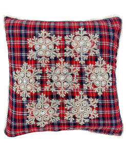 "Beaded Snowflakes Plaid Pillow, 20"" X 20"""