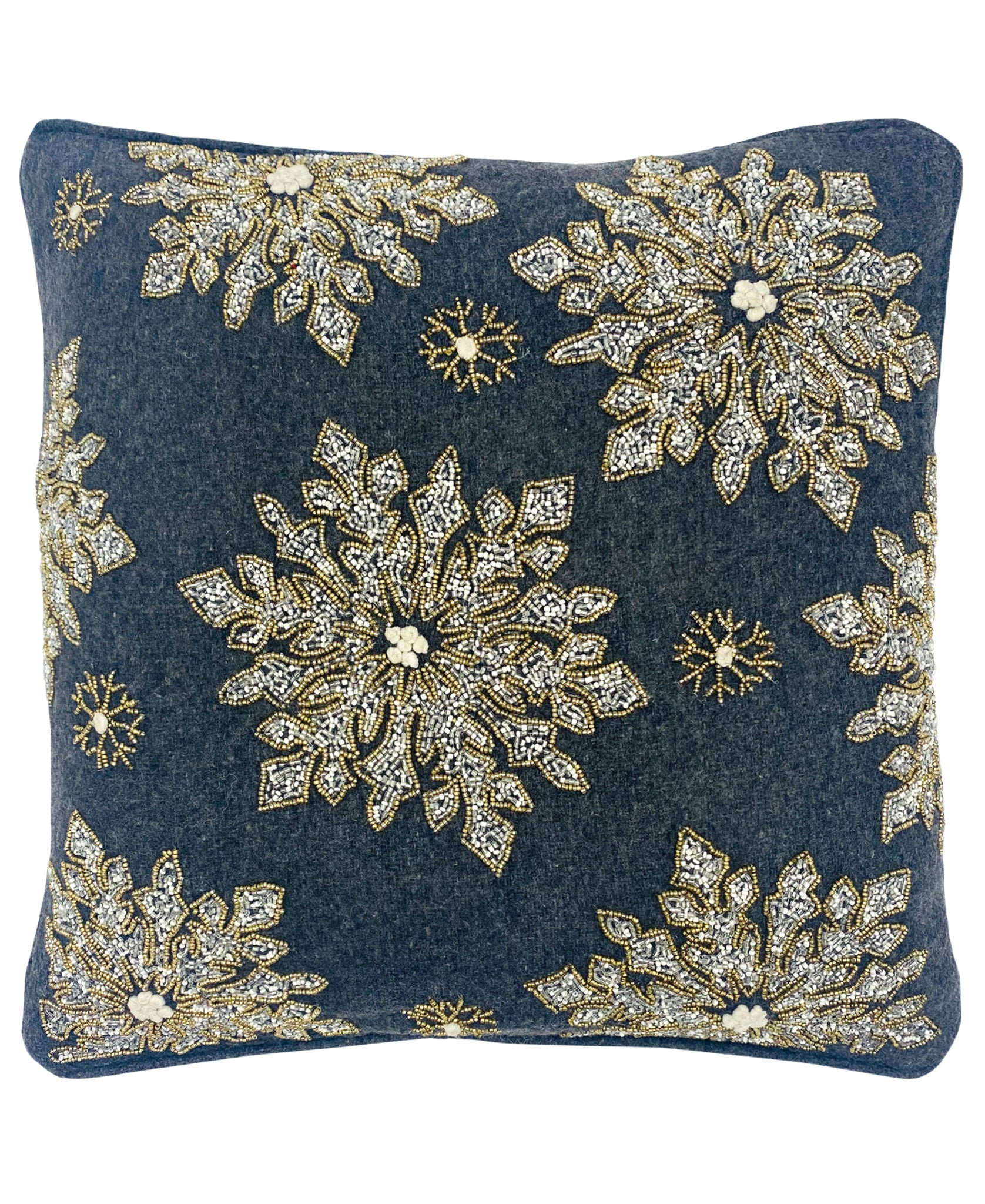 "Embellished Beaded Snowflake Felt Pillow, 20"" X 20"" Mod Lifestyles"