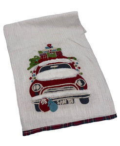 "Holiday Truck Textured Linen Runner, 16"" X 72"" Mod Lifestyles"
