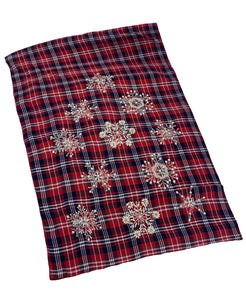 "Red Plaid Beaded Snowflakes Table Runner, 16"" X 72"" Mod Lifestyles"