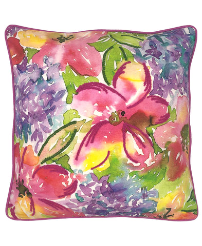 Watercolor Floral Digital Print and Embroidery Pillow with Piping, 20''x20''
