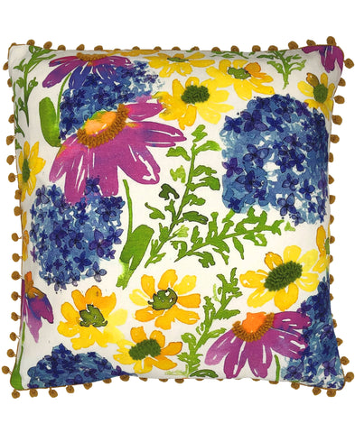 Bohemian Floral Digital Print and Embroidery Pillow