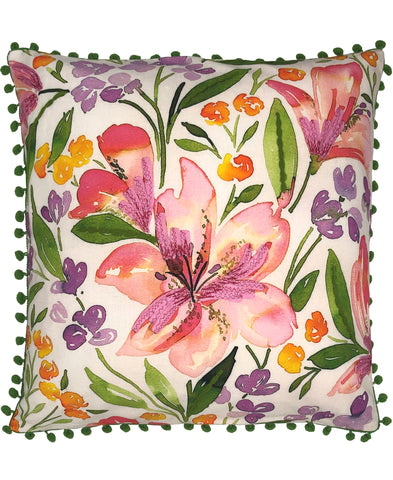 Lilium Floral Digital Print and Embroidery Pillow
