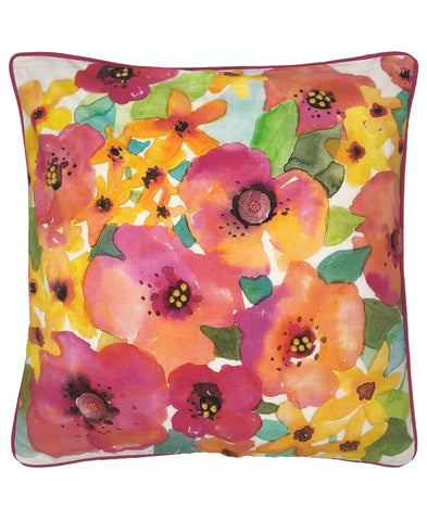 Poppies Floral Digital Print and Embroidery Pillow