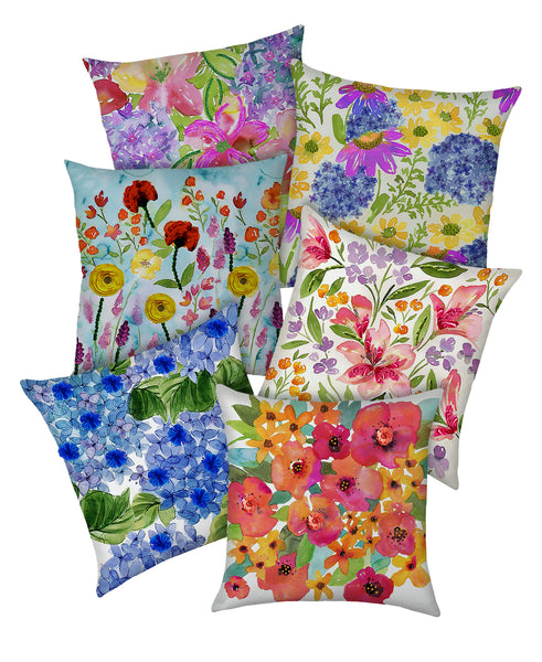 Hydrangea Floral Digital Print and Embroidery Pillow with Piping, 20''x20''