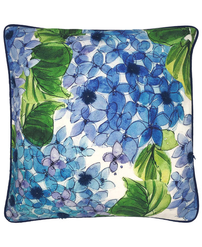 Hydrangea Floral Digital Pring and Embroidery Pillow