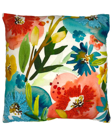 Spring Floral Digital Print and Embroidery Pillow