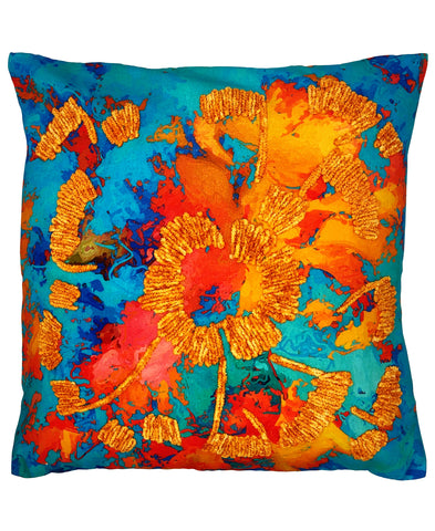 Botanical Floral Digital Print and Embroidery Pillow