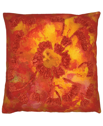 Camelia Floral Digital Print and Embroidery Pillow