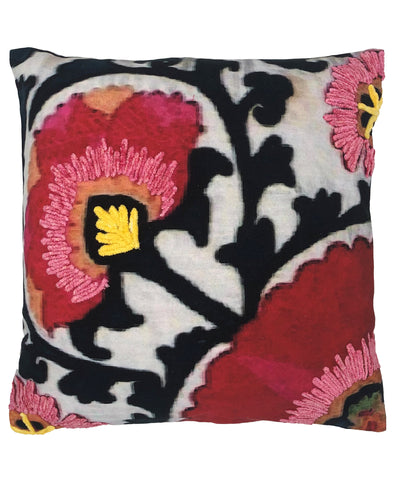 Begonia Floral Digital Print and Embroidery Pillow