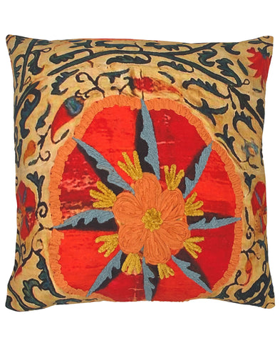 Vintage Floral Digital Print and Embroidery Pillow