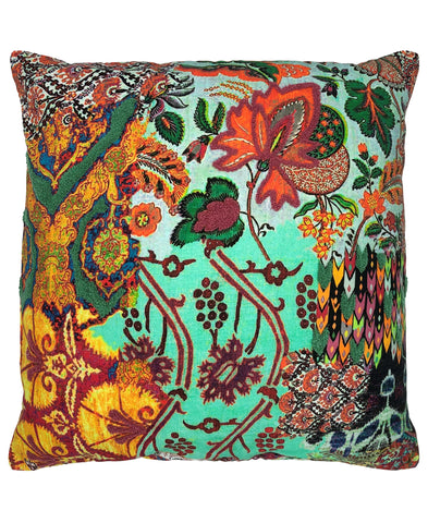 Victorian Floral Digital Print and Embroidery Pillow, 20''x20''