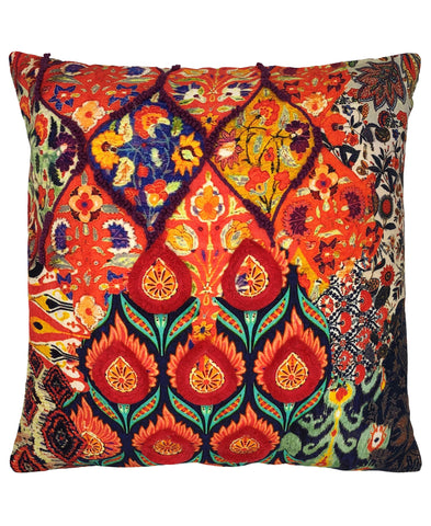 Peacock Floral Digital Print and Embroidery Pillow
