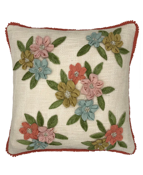 Applique Daisies Pillow with Fringe, 18''x18''