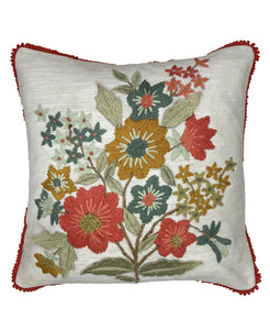 Bouquet of Flowers Embroidery Pillow with Fringe, 18''x18''