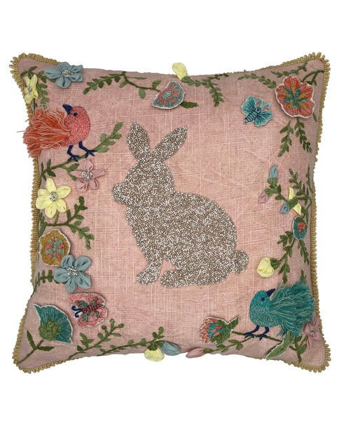 Spring Beads Rabbit Pillow with Fringe, 18''x18''