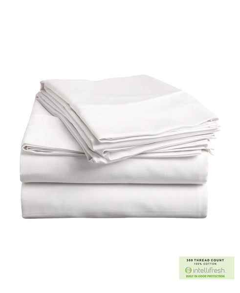 300 Threadcount Cotton Bedsheet Set with Intellifresh Odor-control Finish, Twin Size