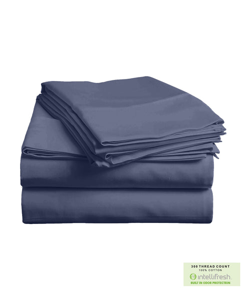 300 Threadcount Cotton Bedsheet Set with Intellifresh Odor-control Finish, Queen Size