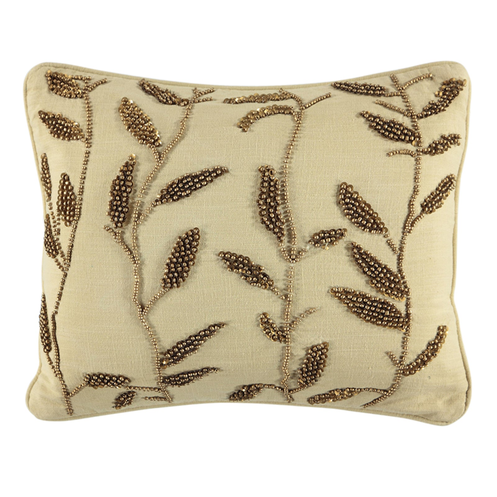 "Gold Leaves Beads Embroidery Decorative Pillow, 14"" X 18"" Mod Lifestyles"