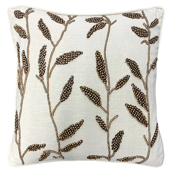 "Gold Leaves Beads Embroidery Decorative Pillow, 20"" X 20"""