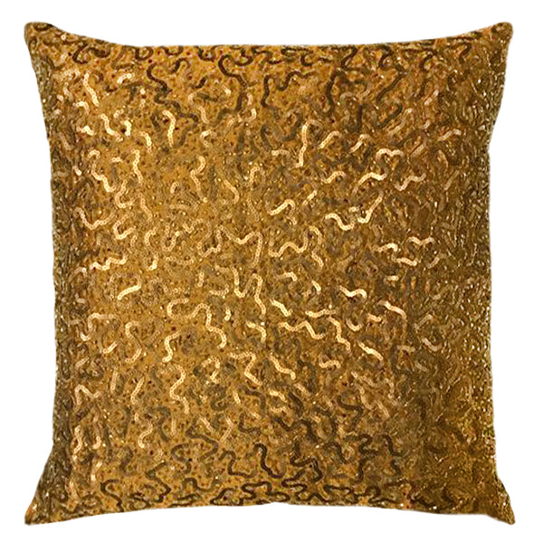 "Squiggles Sequin Embroidery Decorative Pillow, 20"" X 20"" Mod Lifestyles"