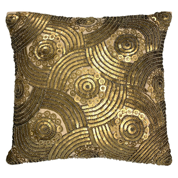 "Geometric Sequin Embroidery Decorative Pillow, 20"" X 20"""