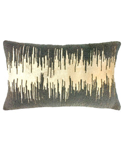 "Luxury Velvet Beaded Pillow Decorative Lumbar Pillow, 14"" X 22"" Mod Lifestyles"