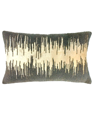 "Hummus Rayon Velvet Pillow Beads Embroidery Decorative Lumbar Pillow, 14"" X 22"""