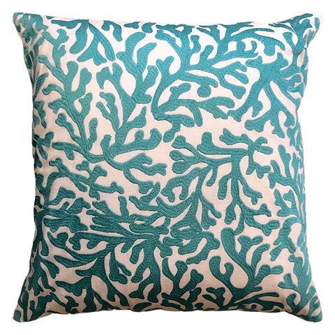 "Aqua Allover Coral Embroidery Decorative Pillow, 20"" X 20"" Mod Lifestyles"