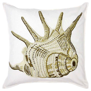 "Conch Embroidery Decorative Pillow, 20"" X 20"""