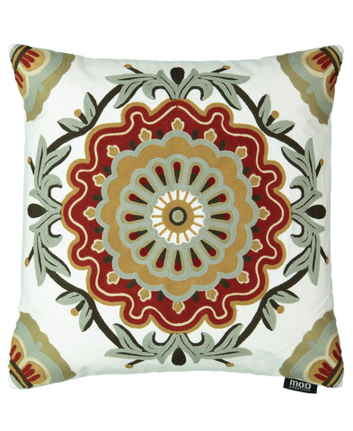 "Medallion Embroidery Decorative Pillow, 20"" X 20"""