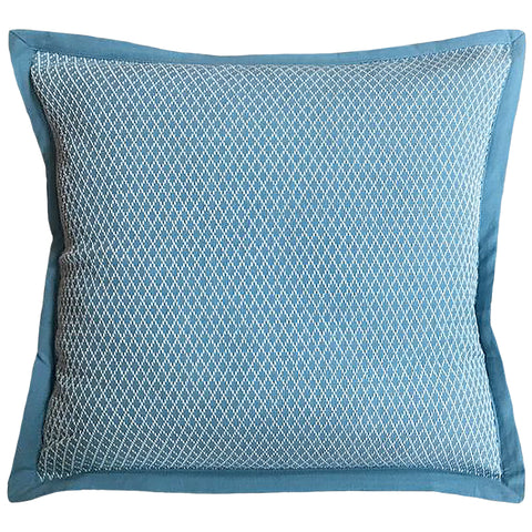 "Blue Diamond Stitch Yarn-dyed Flange Edge Decorative Pillow, 20"" X 20"""