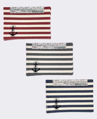 "Cotton Nautical Stripe Stamped Placemat, 13"" X 19"" (Set of 4)"