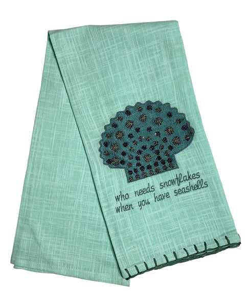 "Blue Beaded Scallop Kitchen Towel, 20"" X 28"""