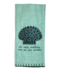 "Blue Beaded Scallop Kitchen Towel, 20"" X 28"" Mod Lifestyles"