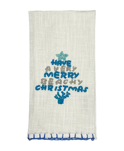 "White and Blue Beachy Christmas Kitchen Towel, 20"" X 28"""