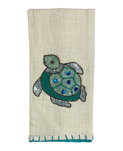 "Turtle Beads and Embroidery Whipstitch Edge Tea Towel , 20"" X 28"" Mod Lifestyles"