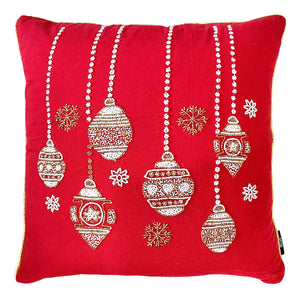 "Red Christmas Ornaments Pillow Decorative Pillow, 20"" X 20"" Mod Lifestyles"