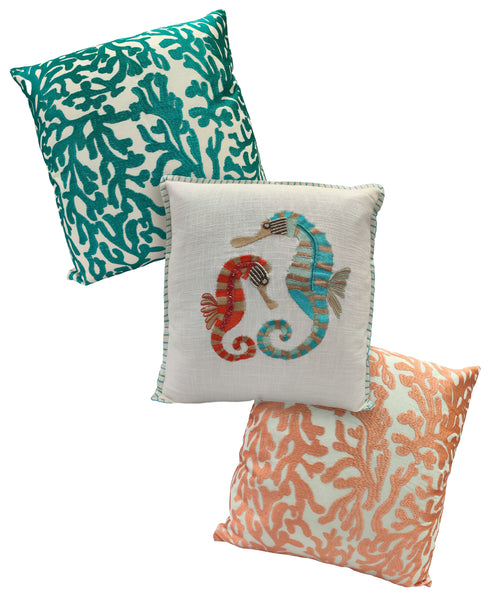 "18"" X 18"" Red & Teal Two Seahorses Embroidery Throw Pillow"