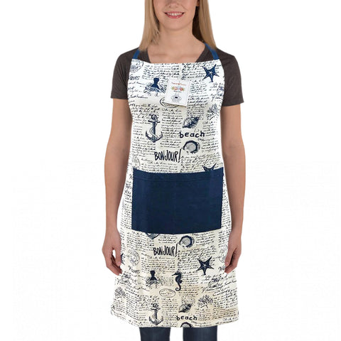 Nautical Print Apron, Free Size