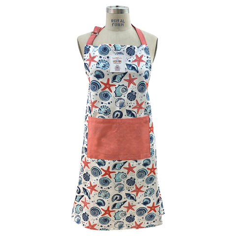 Starfish and Shell Print Apron, Free Size Mod Lifestyles