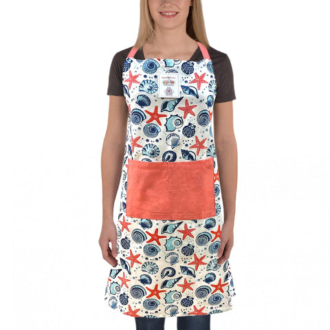 Starfish and Shell Print Apron, Free Size