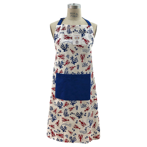 Lobsters and Coral Print Apron, Free Size Mod Lifestyles