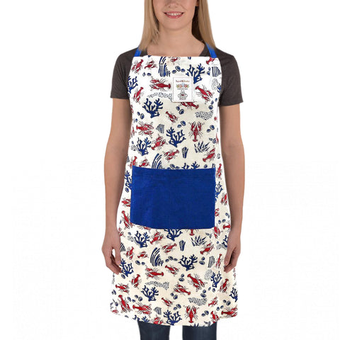 Lobsters and Coral Print Apron, Free Size