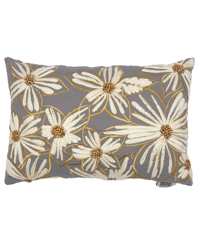 "Daisy Flower Embroidery Beads Decorative Pillow, 14"" X 20"" Mod Lifestyles"