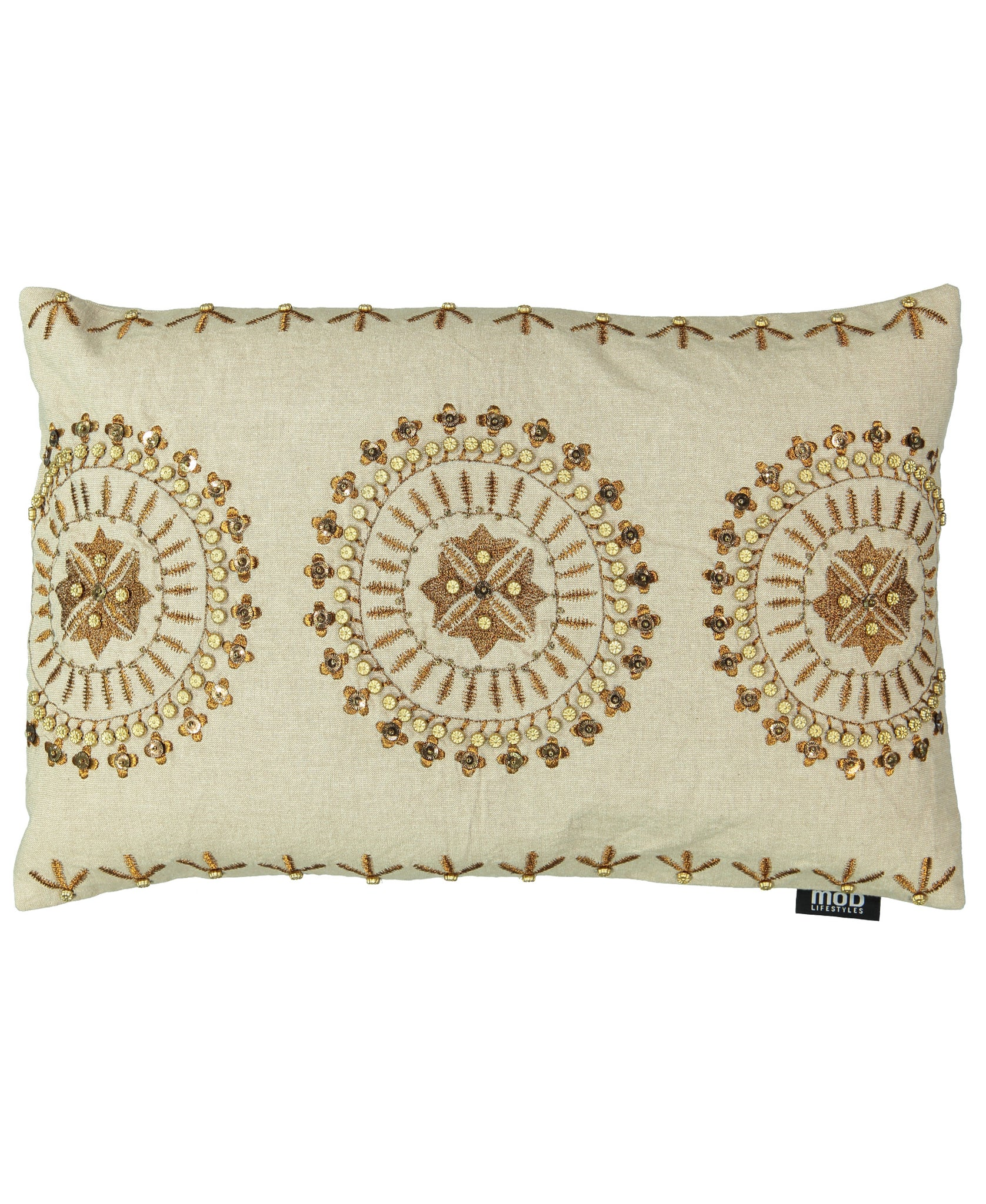 "Gold Medallion Embroidery Decorative Pillow, 14"" X 22"""