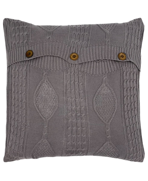 "Cotton Diamond Cable Knit Pillow with 3 Button Closure, 18"" X 18"" Mod Lifestyles"