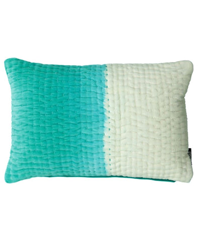 Ombre Kantha Stitch Velvet Decorative Pillow, 14 X 22""