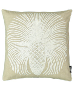 "Pineapple Embroidered Decorative Pillow, 20"" X 20"""
